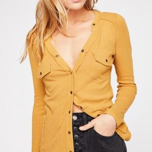 Free People Starlight Henley TeeGold Top L Blouse